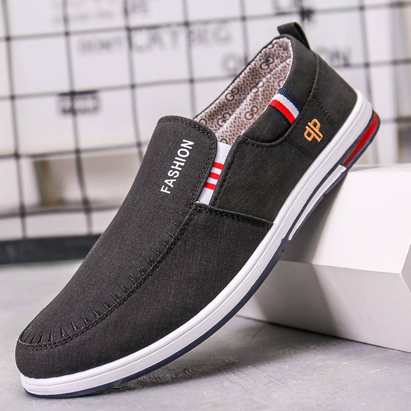 Shoes, one foot, lazy people, leisure, lazy cloth shoes, no laces, mens shoes, odor proof and breathable linen canvas in summer