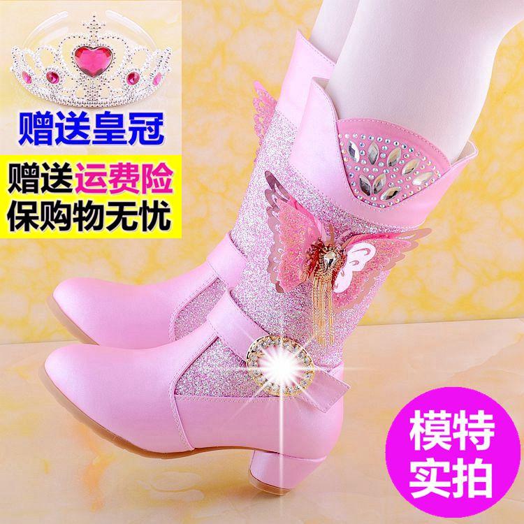 冰雪奇缘水晶靴2019冬季女童高跟靴子儿童公主靴马丁靴高筒雪地靴