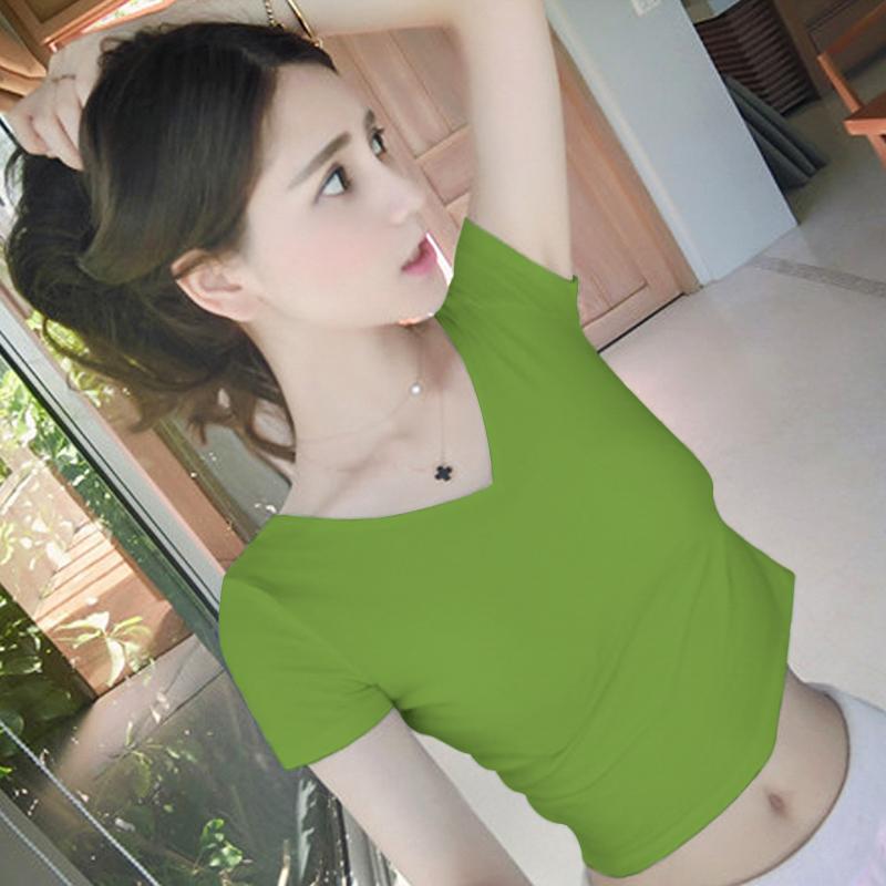 黑色v领露脐t恤女夏短袖紧身高腰体恤漏肚脐半袖露背修身短款上衣