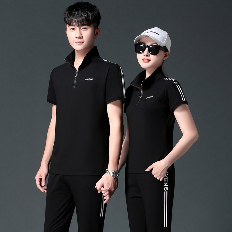 Counter brand sports suit mens summer lovers wear womens slim fit T-shirt tide brand Lapel short sleeve thin large