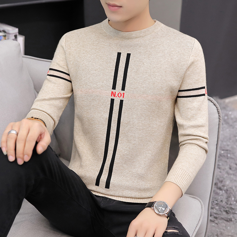 New spring and autumn mens sweater, Korean version clothes, slim top, mens knitwear, thread clothing, youth leisure base coat