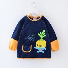 儿童罩衣男水晶绒防水长袖吃饭衣宝宝反穿衣婴儿护衣女童罩衫秋冬