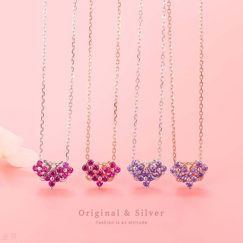 Korean style 925 Sterling Silver Love Necklace schoolgirl simple temperament clavicle chain stall jewelry
