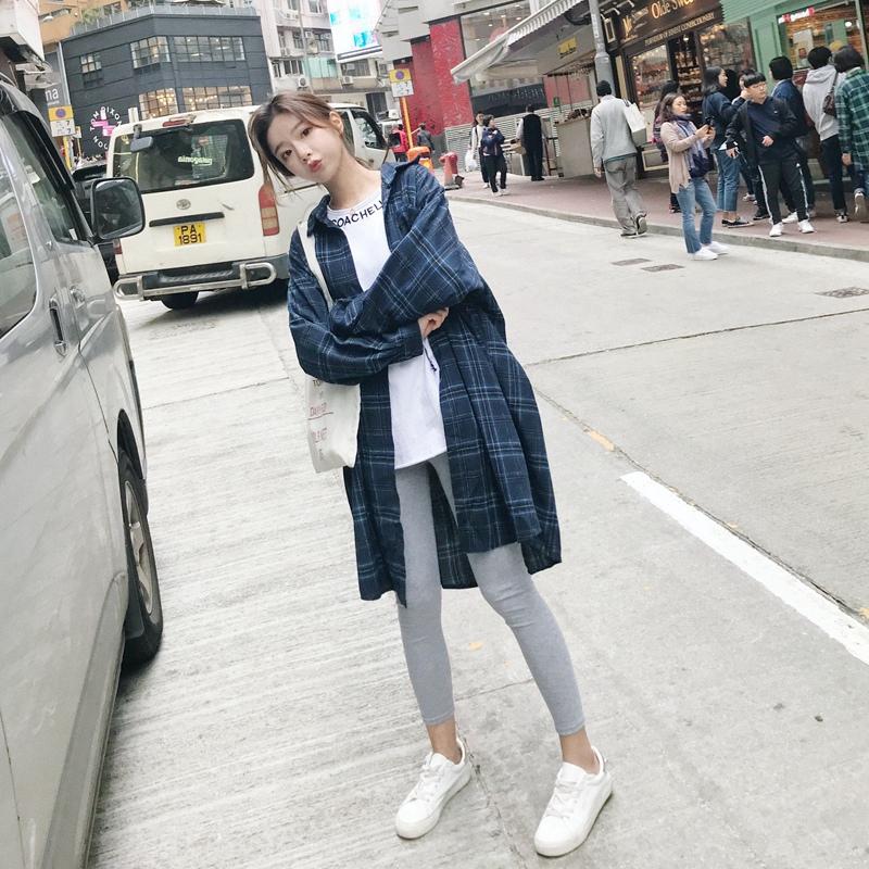格子衬衫女韩版衬衣女2019新款外穿秋洋气学生时尚中长款宽松外套