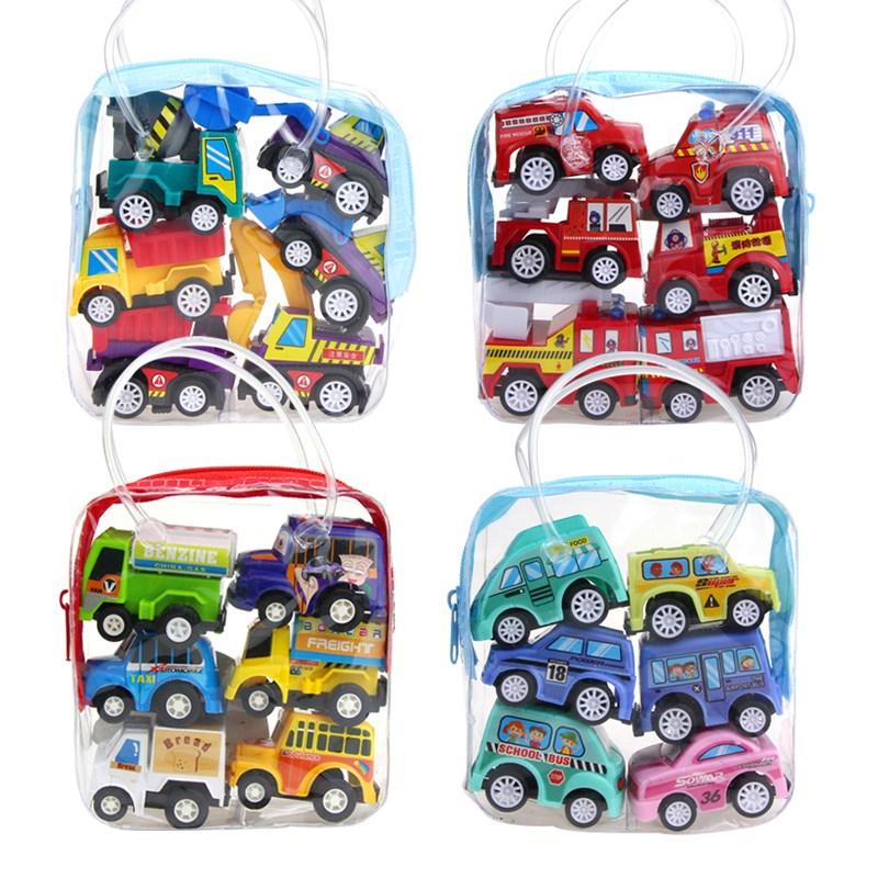 儿童玩具 1袋6辆 幼儿玩具汽车 宝宝迷你回力小汽车 惯性工程车
