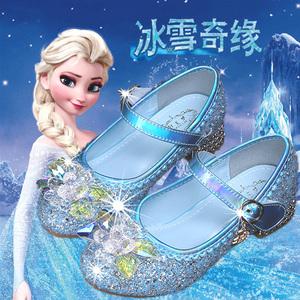 公主鞋女童高跟水晶鞋2020年春季新款冰雪奇缘爱莎小孩演出表演鞋