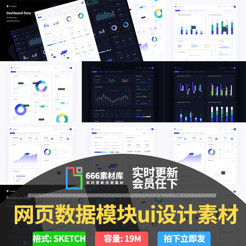 扁平网页后台H5界面分析数据统计图表组件模块UI设计素材模板K316
