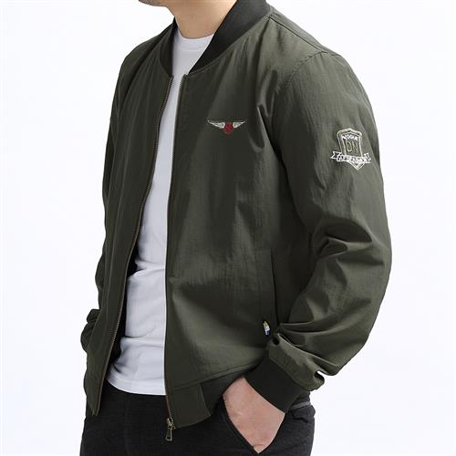 。 Spring and autumn plus size jacket male pilot sports coat thin fat extra large casual stand collar baseball