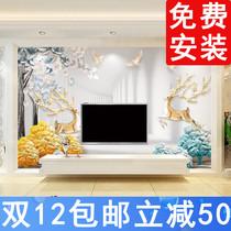 立体感可带辅料施工适用客厅卧室3D欧式刺绣无缝墙布壁布防水防潮