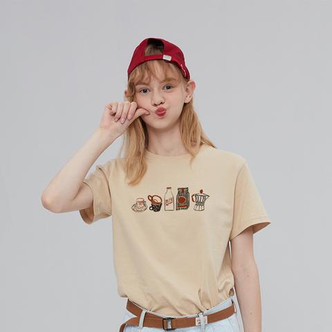 棉牵原创设计正肩t恤女短袖夏季修身显瘦卡其色上衣纯棉半袖体恤
