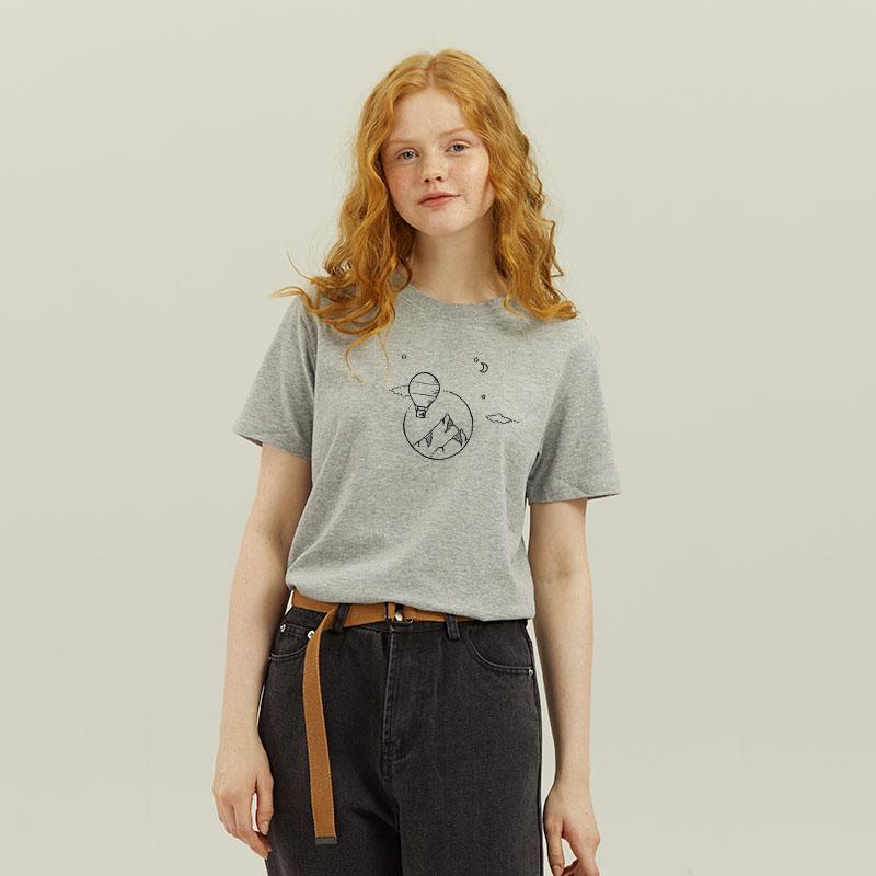 棉牵正肩显瘦灰色t恤女短袖美式复古夏季薄款上衣纯棉半袖体恤夏