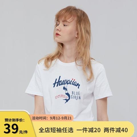 卡通美人鱼日系原宿风白色t恤女短袖宽松小个子纯棉半袖夏季上衣