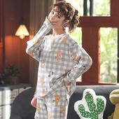 长裤 薄款 纯棉小个子150cm初中学生分体两件套m 秋装 睡衣女大童长袖