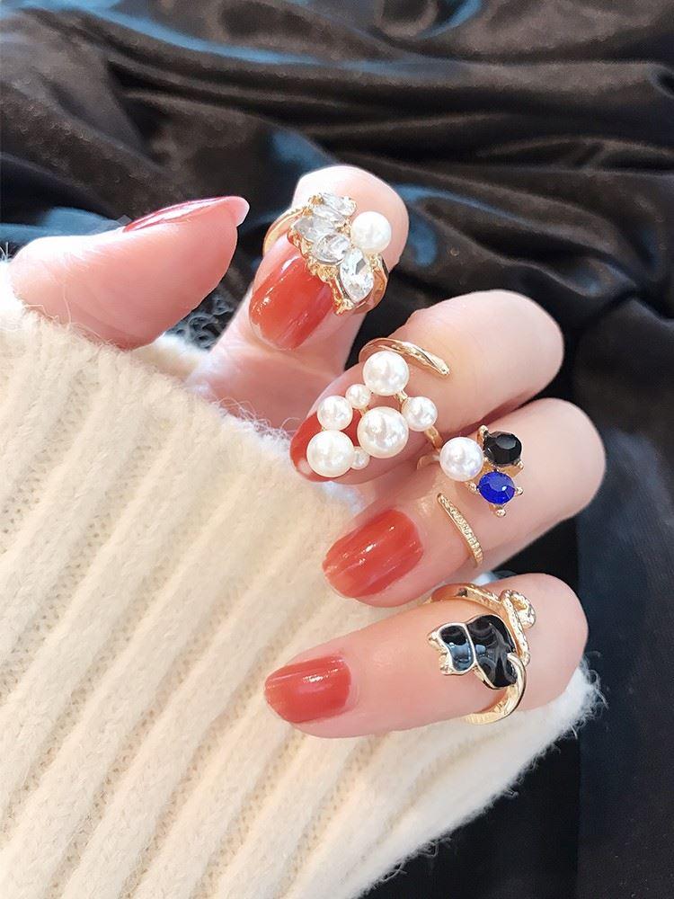 指甲戒指韩版时尚气质猫咪珍珠水钻护甲套关节指环指甲盖装饰戒女