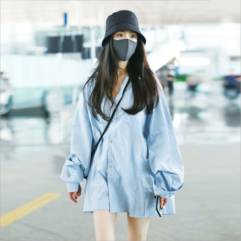 Star same style Yang Mi spring and Autumn New Minority chic top fashionable loose medium long striped embroidered long sleeved shirt