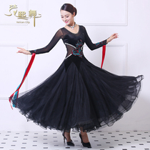 Spring and summer new big pendulum skirt gold velvet black national standard dance dress match dress modern dance ballroom Costume woman