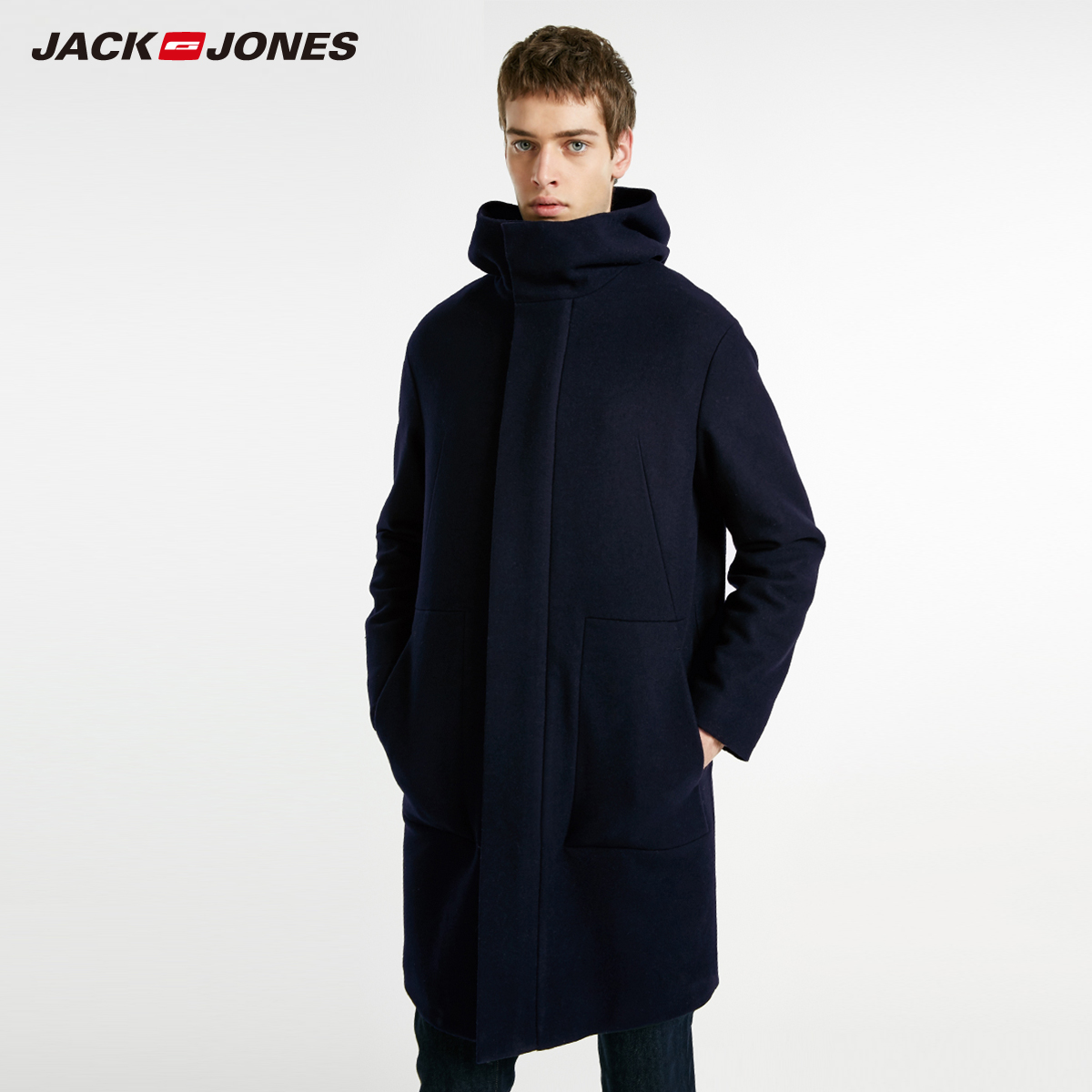 JackJones Jack Jones outlets men's autumn mid-length woolen woolen coat cotton coat E