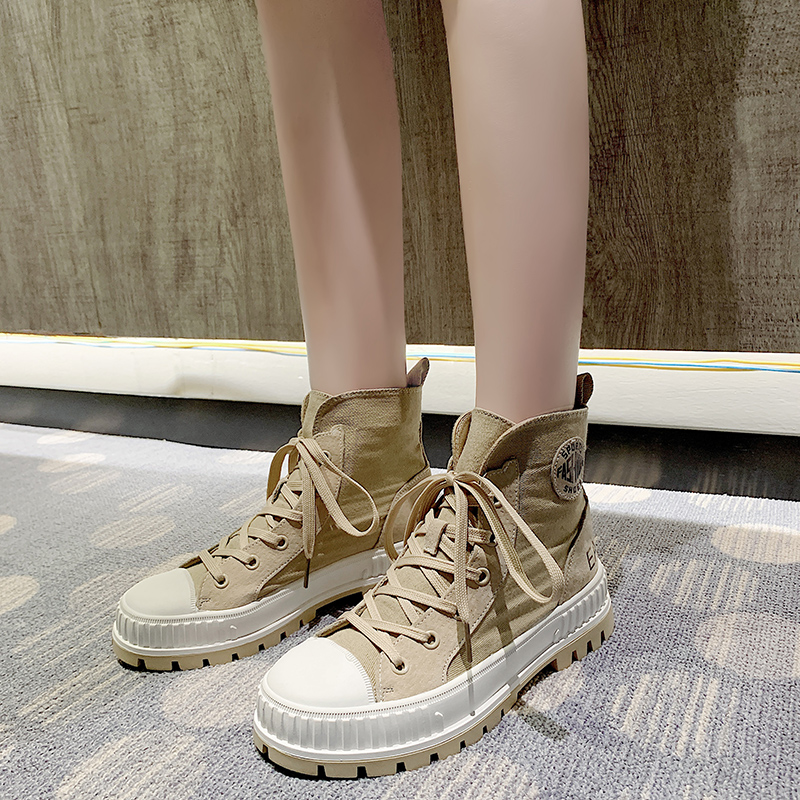 Womens early autumn lace up six hole thick sole antiskid small soft sole Khaki high top Martin boots