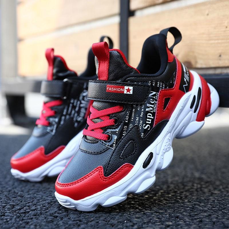 网红男童鞋子秋季新款儿童皮面运动鞋防泼水中大童软底小学生秋鞋