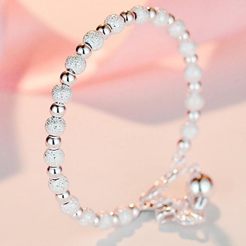 990纯银手镯女学生串珠足银手链银饰品 新款银手环首饰送女友闺蜜