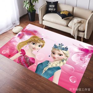冰雪奇缘公主地毯卡通动漫可爱地垫安娜爱莎儿童房防滑粉色可水洗