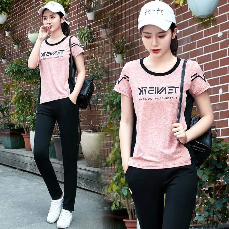 高档热卖夏季新款运动套装女短袖长裤运动服装两件套女士运动衣运