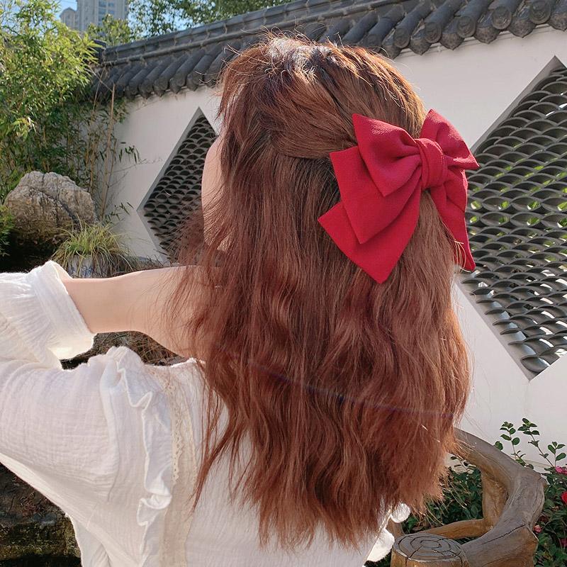 鞠婧祎同款大红色蝴蝶结发夹头绳网红jk制服lolita头饰后脑勺发饰