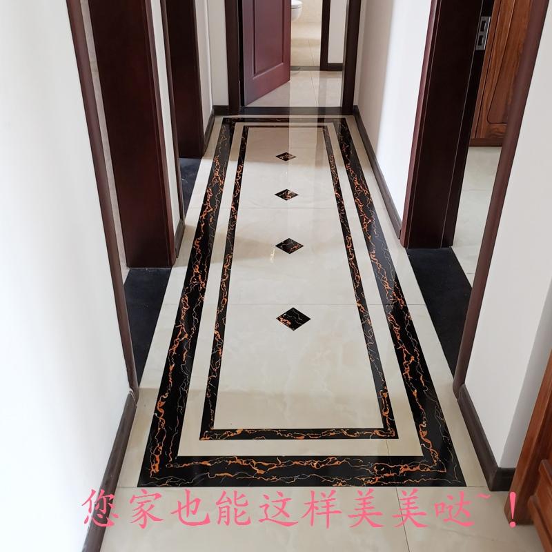 瓷砖地砖波导线自粘贴纸装饰走廊客厅餐厅地面对角贴pvc墙贴防水