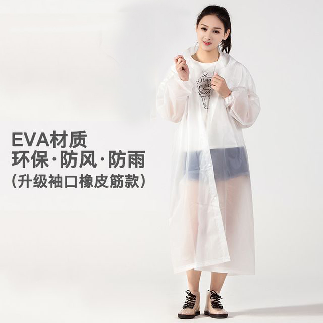 Non disposable raincoat EVA thickened fashion adult poncho tourism hiking outdoor transparent waterproof antifoam light