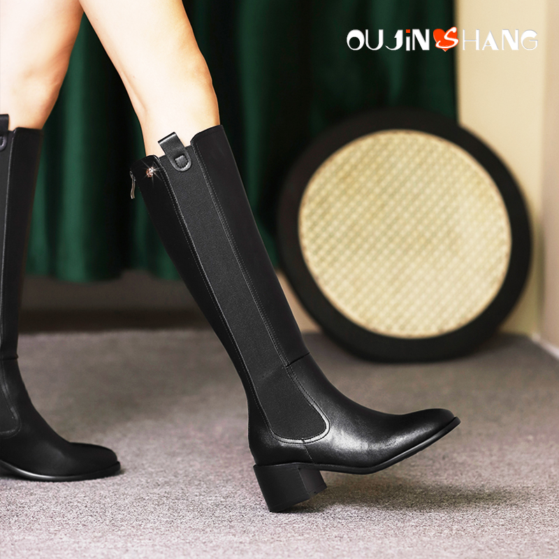 Elastic Knight boots Plush flat bottomed boots childrens chimney boots high heeled single boots knee length boots chimney riding boots