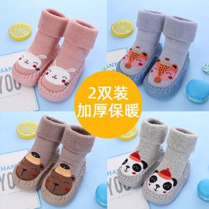 秋冬婴儿鞋袜地板袜防滑软底隔凉纯棉加厚宝宝学步室内儿童袜套