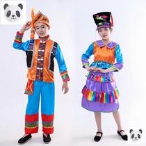 儿童少数民族演出服男女童京族舞蹈服葫芦丝表演服民族风情服装
