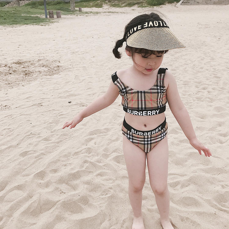 2019ins childrens swimsuit girls bikini summer new girls split swimsuit baby Plaid swimsuit