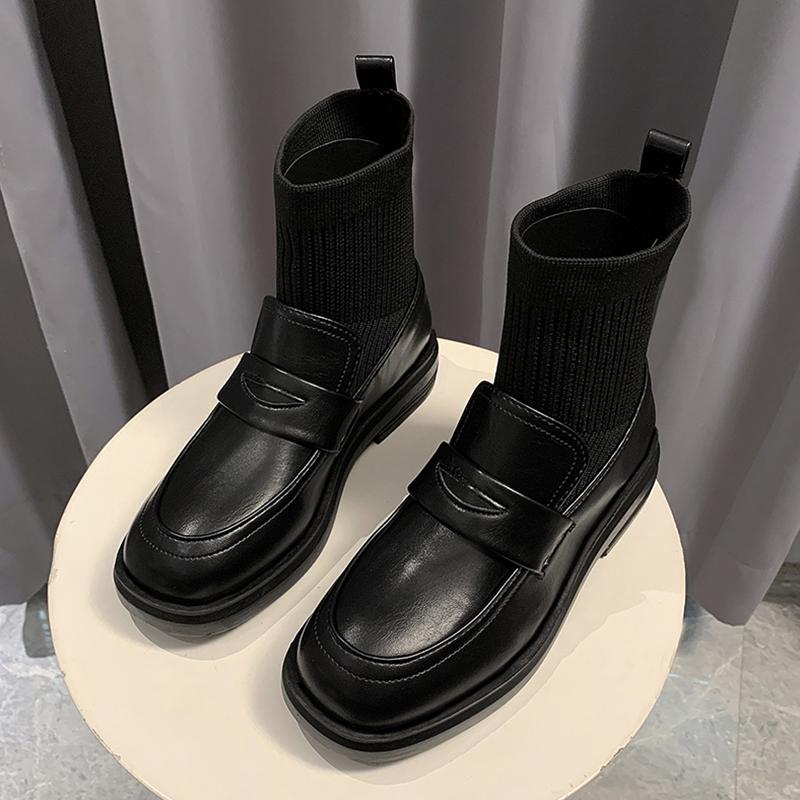 针织弹力瘦瘦靴女2020新款秋冬季百搭英伦风小皮鞋时装马丁靴短靴