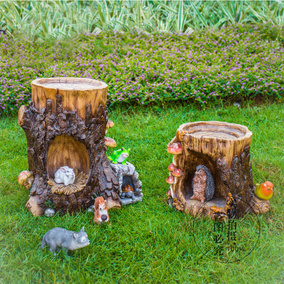 花園庭院裝飾創意樹樁擺件戶外園林景觀別墅樹脂工藝品雕塑草坪
