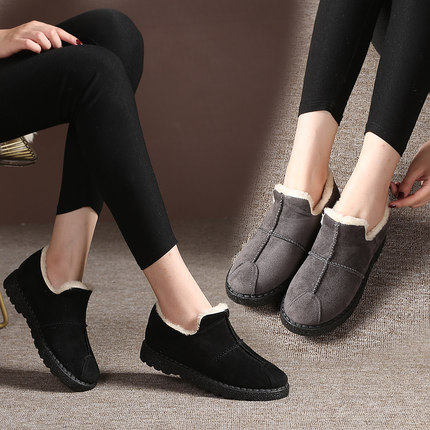 老北京布鞋女款棉鞋加厚加绒保暖加绒防滑中老年妈妈鞋pu棉鞋