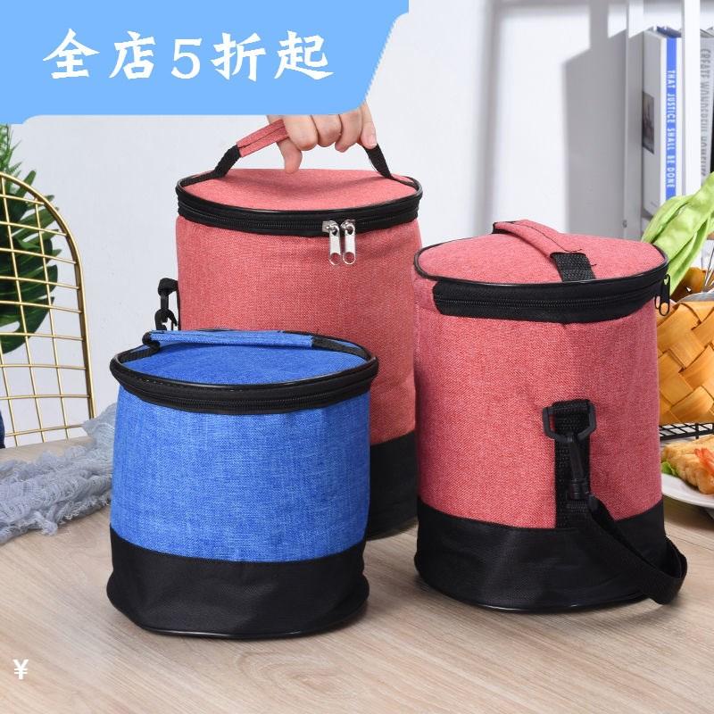 圆形防水保温袋学生饭盒保温袋外用手提包保温桶袋子牛津布便当。