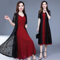 蕾丝连衣裙2020新款夏季裙子套装洋气阔太太遮肚子显瘦雪纺两件套