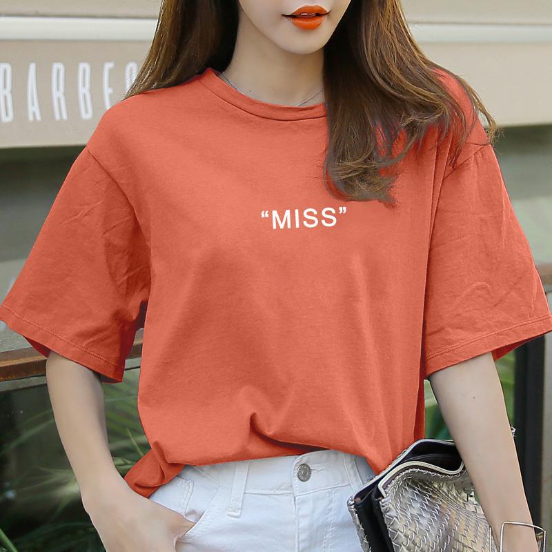 短袖女2019新款夏装宽松大码圆领T恤女中袖橙色半袖字母上衣假一赔三