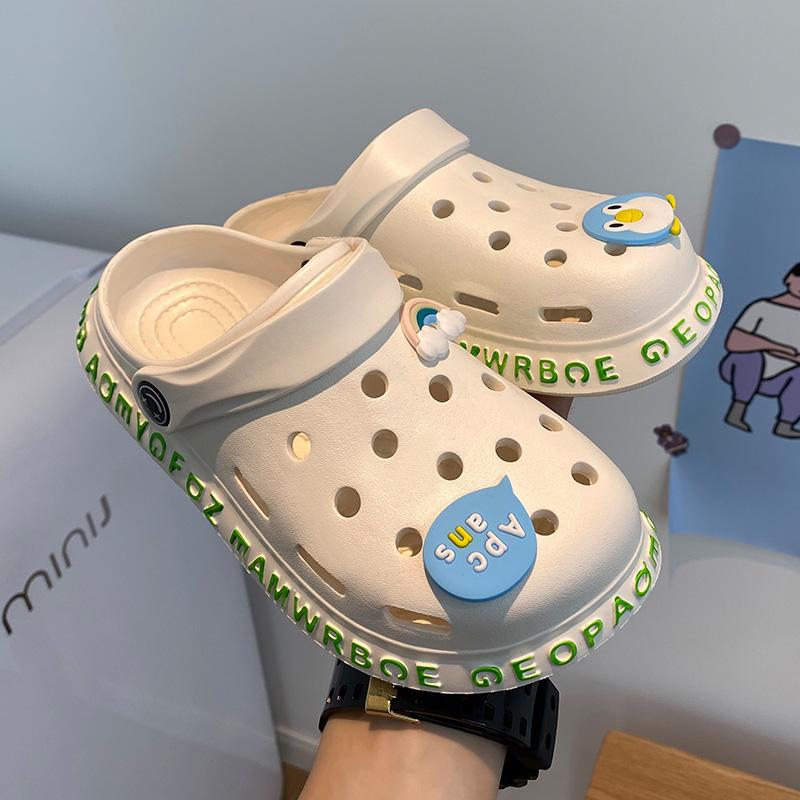 潮女拖鞋新款厚底洞洞鞋外穿防滑半包头夏天软底上班沙滩2020ins