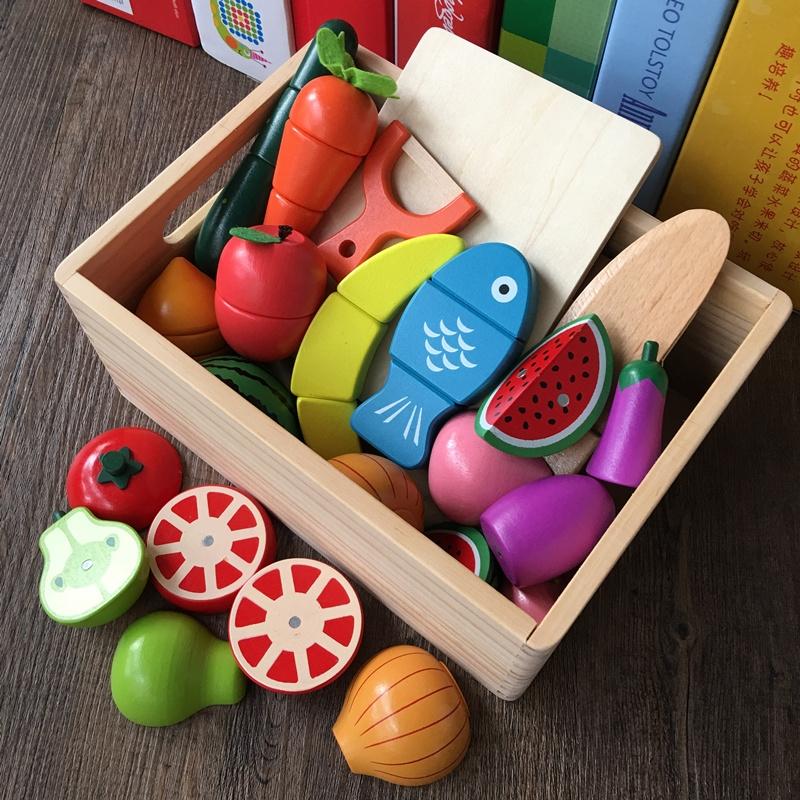 儿童礼物木制磁性水果蔬菜切切看3456岁小男女孩过扮家家厨房玩具,可领取5元天猫优惠券