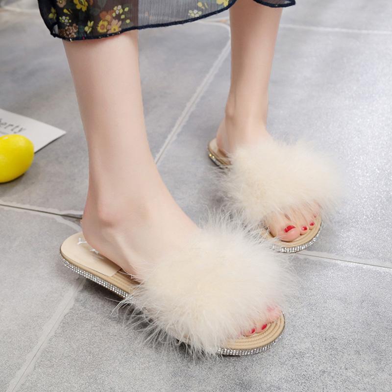 毛毛拖鞋女外穿夏天2020新款网红仙女风一字拖少女编织底水钻凉拖图片