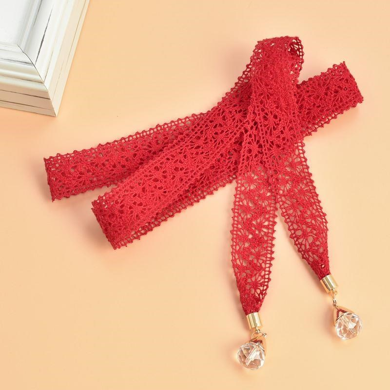 Suit nice black sweet belt women with skirt knitting lace casual orange household rope red versatile