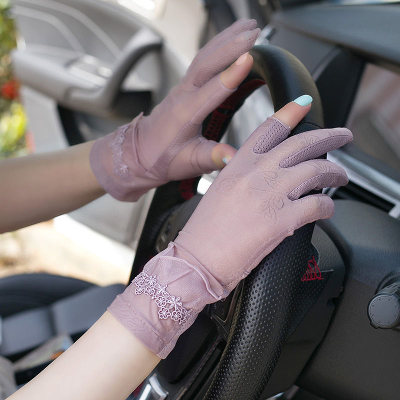 Summer short gloves womens Half Finger driving anti ultraviolet thin two finger touch screen anti slip in spring and Autumn