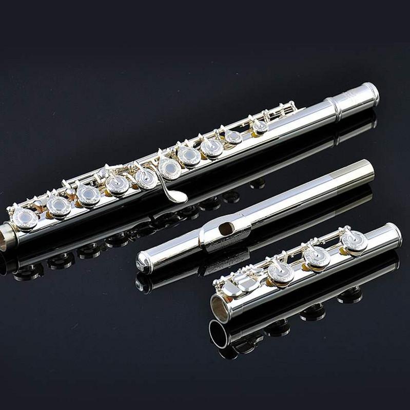 创意长笛 乐器  958纯银笛头 17孔 开孔 B尾 法式按键通用 专