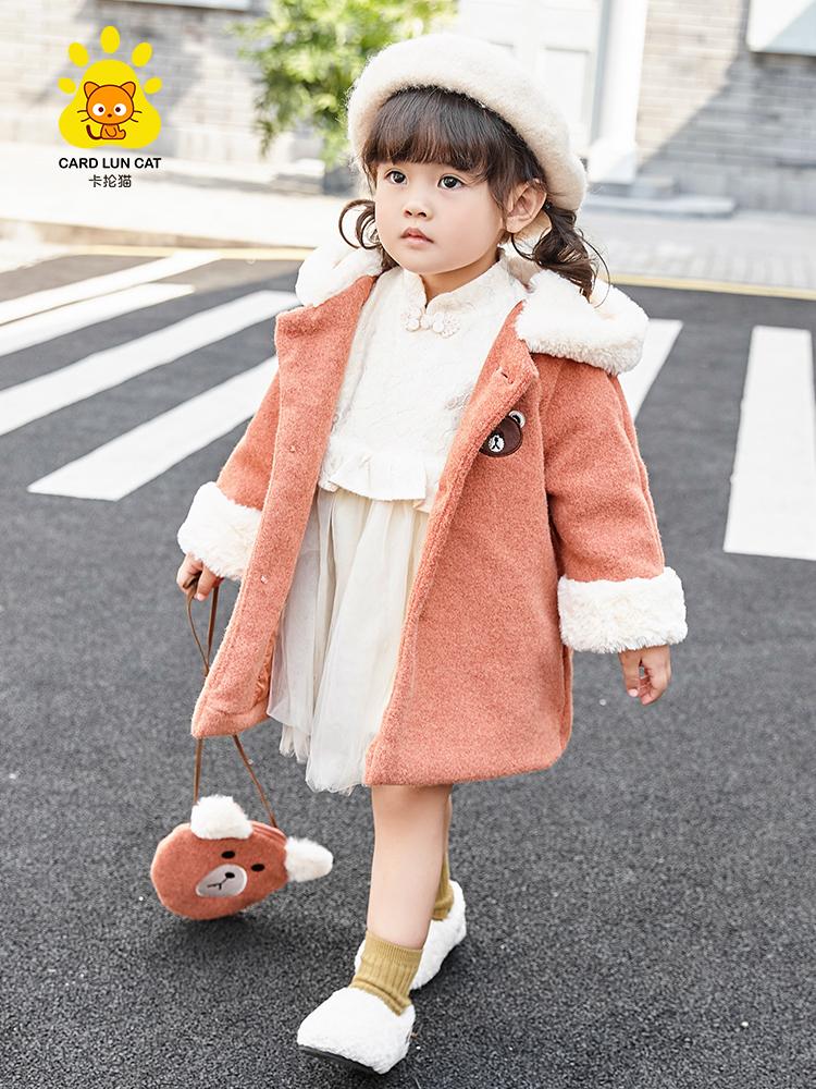 女童外套秋冬装2019新款女孩小熊挎包呢大衣 加厚儿童装呢子外套童装优惠券