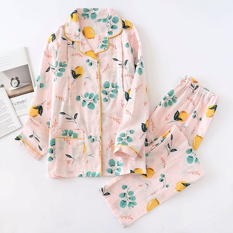 Pure cotton gauze moonwear spring and summer postpartum thin feeding clothes large size pregnant women NURSING PAJAMAS spring and autumn summer home