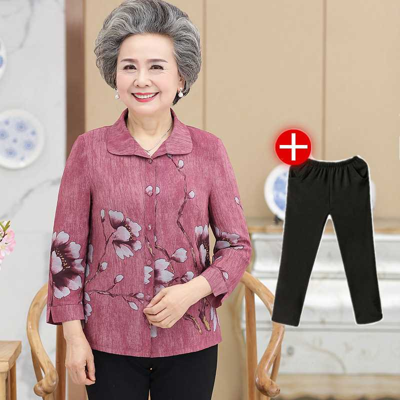 Middle aged and elderly womens summer long sleeve shirt granny suit spring and autumn thin coat pure cotton clothing old peoples clothing all cotton