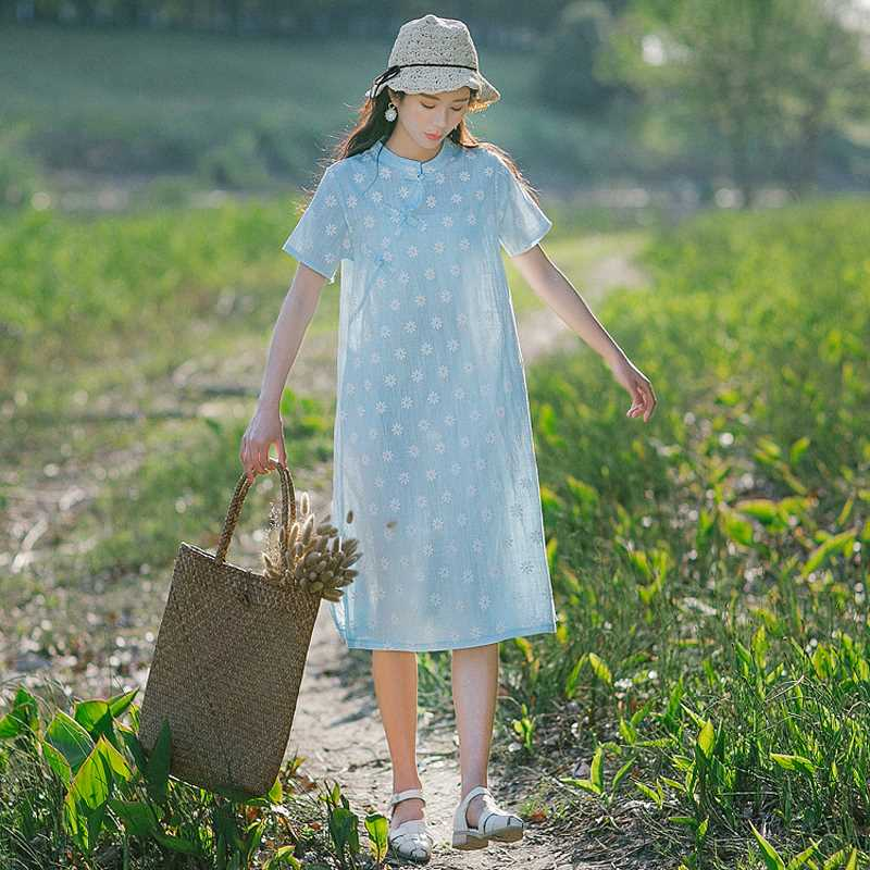 Cotton and linen cheongsam womens summer 2018 new Chinese style retro floral linen cotton large modified loose dress