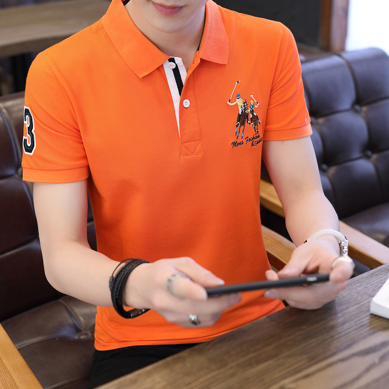 Cotton half sleeve collar mens T-Shirt Top embroidery logo mens shirt collar summer Polo Shirt Green Blue Gray orange